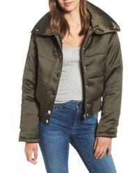 Maralyn & Me - Shiny Crop Puffer Jacket - Lyst