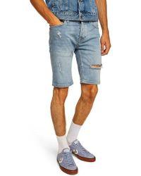 TOPMAN - Bleach Ripped Skinny Denim Shorts - Lyst