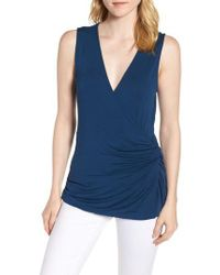 Bobeau - Side Knot Ruched Tank Top - Lyst