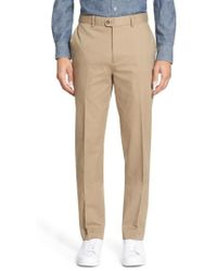 Bensol - Washed Trim Fit Stretch Cotton Trousers - Lyst