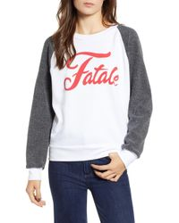 Wildfox - Fatale Fleece Sleeve Sweatshirt - Lyst