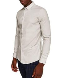 TOPMAN - Muscle Fit Textured Shirt - Lyst
