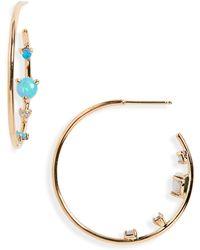 Wwake - Opal & Diamond Inverted Hoop Earrings - Lyst