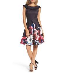 Taylor Dresses - Scuba Knit Fit & Flare Dress - Lyst