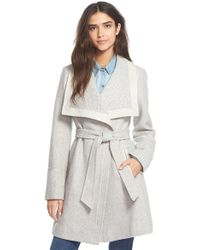 Jessica Simpson - Belted Basket Weave Wrap Coat - Lyst