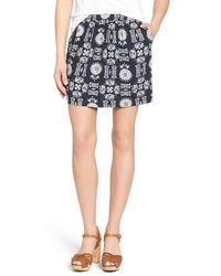 Hinge Floral Print Twill Miniskirt