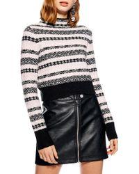 43fc092ece581 Lyst - TOPSHOP Sequin Stripe Fair Isle Sweater in Red