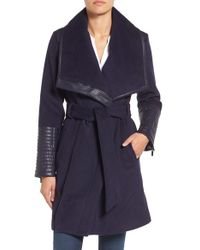 Belle By Badgley Mischka - 'lorian' Faux Leather Trim Belted Asymmetrical Wool Blend Coat - Lyst