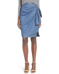 Chelsea28 Nordstrom | Tie Front Chambray Skirt | Lyst