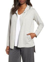 Eileen Fisher - Hooded Stretch Organic Cotton Cardigan - Lyst