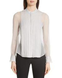 Emporio Armani - Crinkle Layered Silk Shirt - Lyst