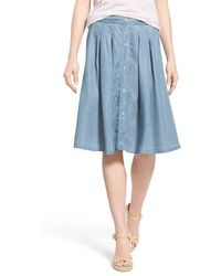 Dex - Pleat Button Front Chambray Skirt - Lyst