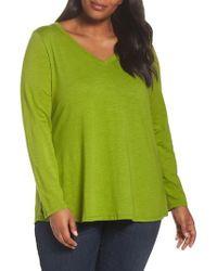 Eileen Fisher | Organic Cotton V-neck Top | Lyst