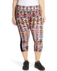 Pink Lotus - Graphic Print Mesh Inset Capri Leggings - Lyst