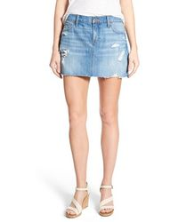 Lucky Brand - Distressed Denim Miniskirt - Lyst