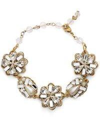 Halo - Floral Crystal & Faux Pearl Bracelet - Lyst