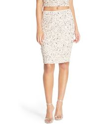 Adrianna Papell - Embellished Mesh Pencil Skirt - Lyst
