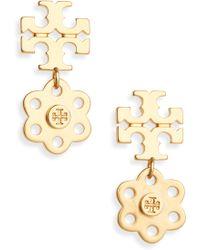 Tory Burch - Logo Charm Drop Earrings - Lyst