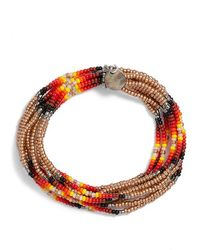 Chan Luu - Patterned Seed Bead Stretch Bracelet - Pale Gold - Lyst