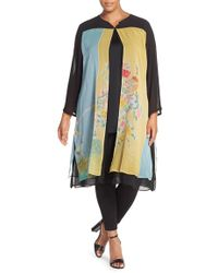 Citron | Print Panel Double Layer Silk Duster | Lyst