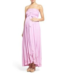Fillyboo - 'Zippora' Embroidered Maternity Maxi Dress - Lyst