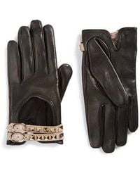 Valentino - Rockstud Leather Driving Gloves - Lyst