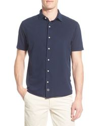 Thaddeus - 'mccawley' Short Sleeve Pique Woven Shirt - Lyst