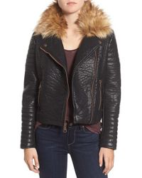 Marc New York - By Andrew Marc 'vanessa' Faux Leather Moto Jacket With Removable Faux Fur Collar - Lyst