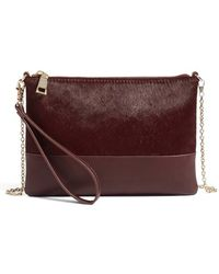 Phase 3 - Genuine Calf Hair Flap Clutch - Burgundy - Lyst