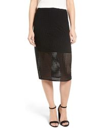 Trouvé - Perforated Pencil Skirt - Lyst