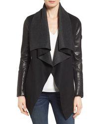Rudsak - Drape Front Leather Sleeve Jacket - Lyst