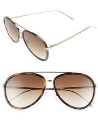 Fendi - 57mm Aviator Sunglasses - Havana/ Gold - Lyst