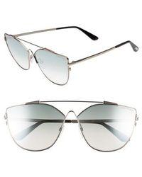 f2c4f5cd5e2e Tom Ford - Jacquelyn 64mm Cat Eye Sunglasses - Light Ruthenium  Blue Mirror  - Lyst
