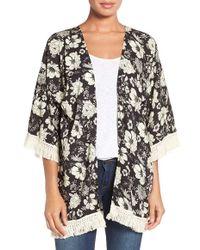 Roffe Accessories - Floral Print Fringe Kimono - Lyst
