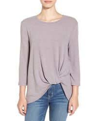 June & Hudson - Knot Front Sweater Knit Tee - Lyst