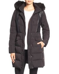 7 For All Mankind - 7 For All Mankind Mixed Media Coat With Removable Faux Fur Trim Hood - Lyst