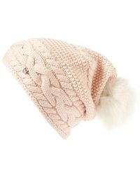 UGG - Ugg Cable Knit Genuine Shearling Pom Beanie - Lyst