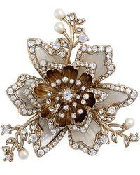 Marchesa - Crystal & Faux Pearl Brooch - Lyst