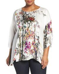 Citron - Colorblock Floral Print Silk Tunic - Lyst