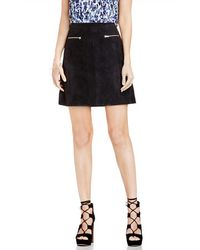 Two By Vince Camuto | Zip Pocket A-line Faux Suede Miniskirt | Lyst
