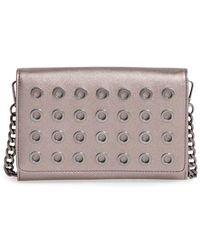 Phase 3 - Grommet Faux Leather Crossbody Bag - Metallic - Lyst
