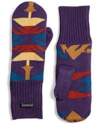 Pendleton - Fleece Lined Knit Wool Mittens - Lyst