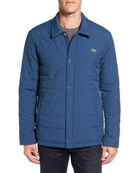 Lacoste | Quilted Water Resistant Car Coat | Lyst