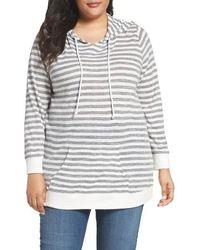 Sejour - Stripe Pullover Hoodie - Lyst
