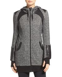 Blanc and Noir - Faux Leather Panel Hoodie - Lyst
