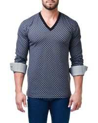 Maceoo - V-neck Check Pullover - Lyst