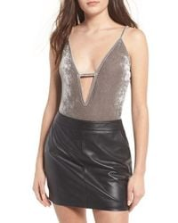Glamorous - Plunging Velvet Bodysuit - Lyst