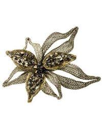 Colette Malouf - Crystal Embellished Mesh Flower Clip - Lyst
