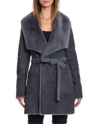 Bagatelle - Genuine Shearling Wrap Coat - Lyst