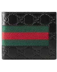 2fa365865008 Lyst - Gucci Grey Field Leather Web Detail 'Rania' Zip Continental ...